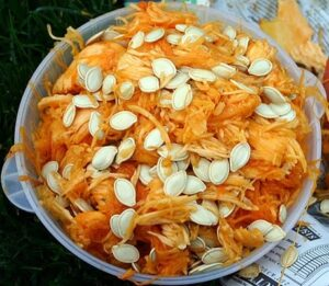 Separate pumpkin seeds from pumpkin insides - How to roast pumpkin seeds