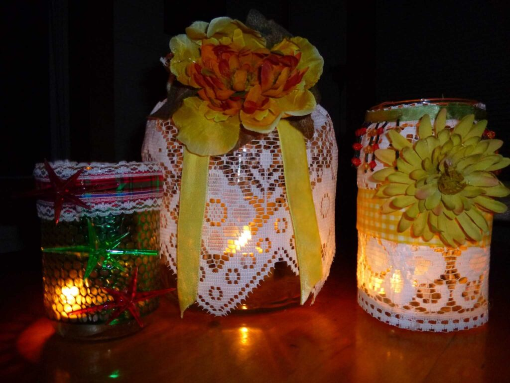 Lit Candle Jars