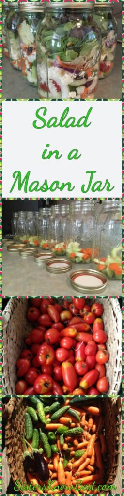 Steps for easy salad in a mason jar