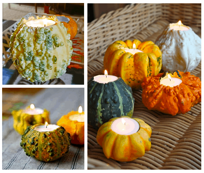 DIY Pumpkin and Gourd Candles