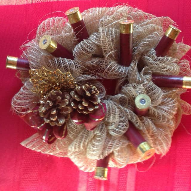 Burlap Shotgun Shell Centerpiece