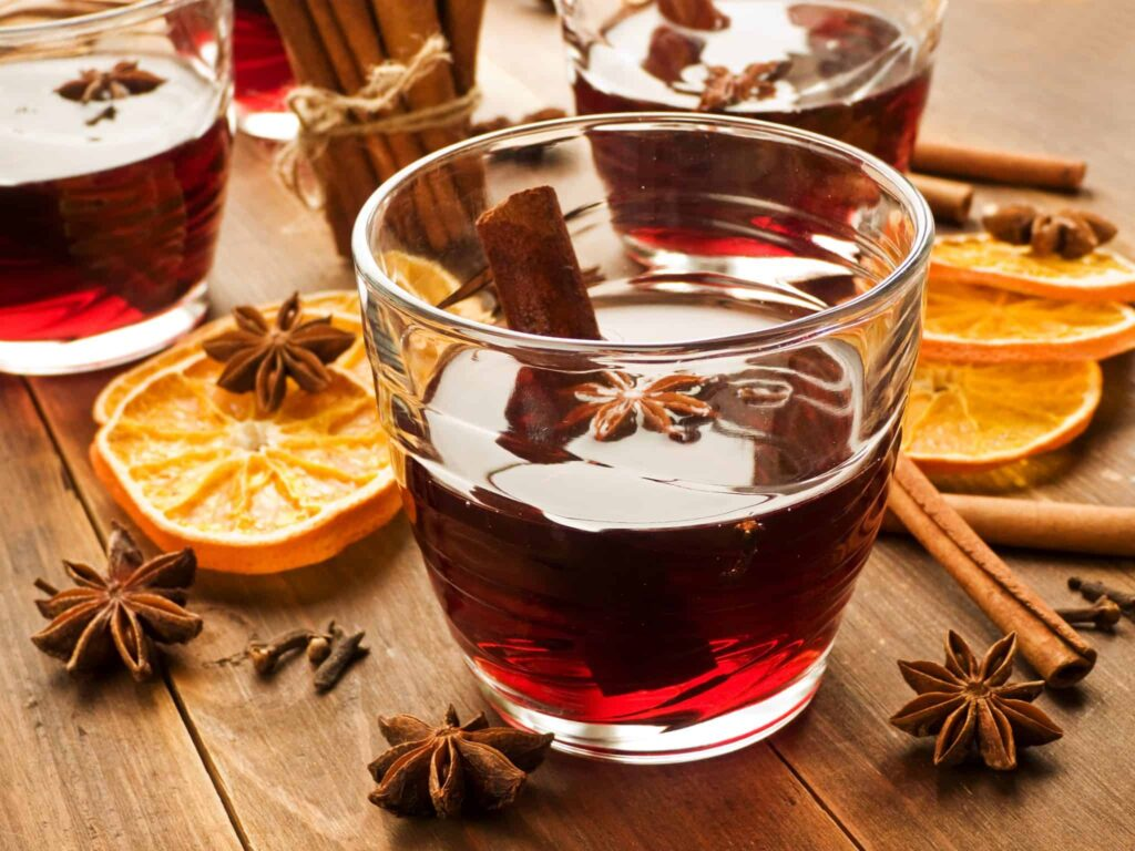 Hot Mulled Wine with Oranges