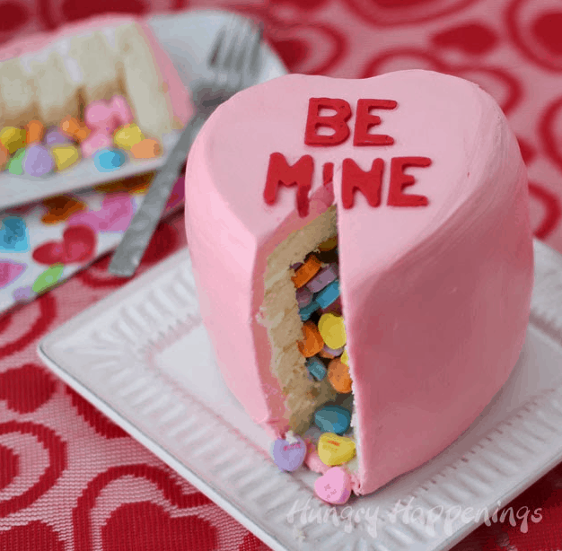 DIY Conversation Heart Cake by Hungry Happenings