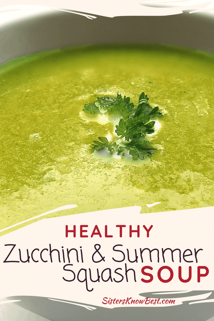 Healthy zucchini & summer squash soup recipe perfect for using extra zucchini from the garden