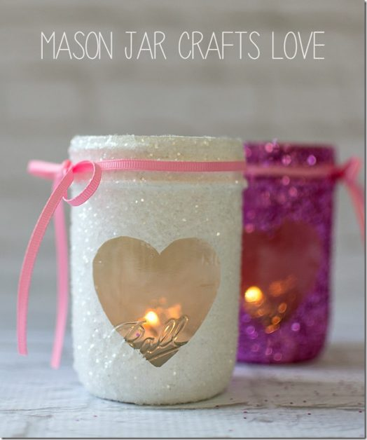 Homemade Valentine Mason Jar Votives