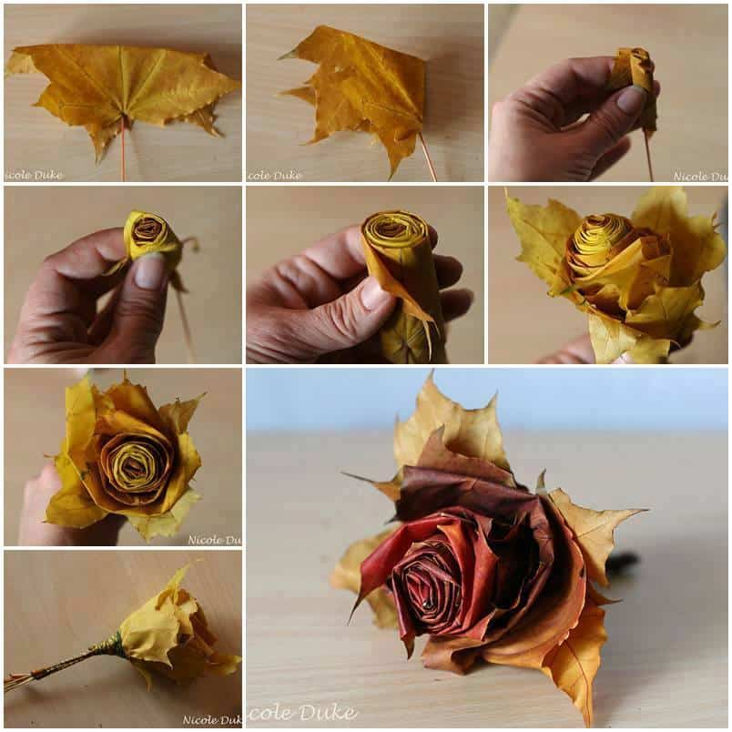 Fall leaf rose DIY project