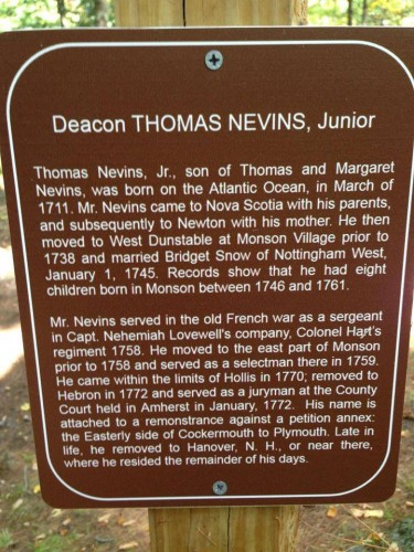 Thomas Nevins Junior of Monson NH