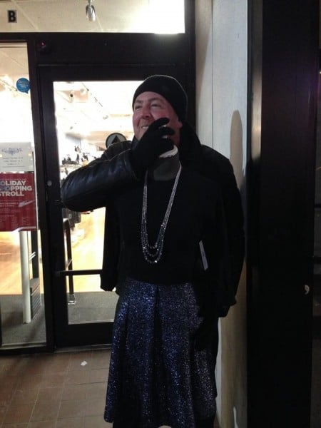 Bill playing dress up on streets of Boston