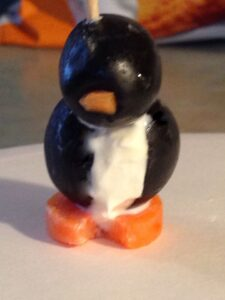 Cream Cheese and Black Olive Penguins