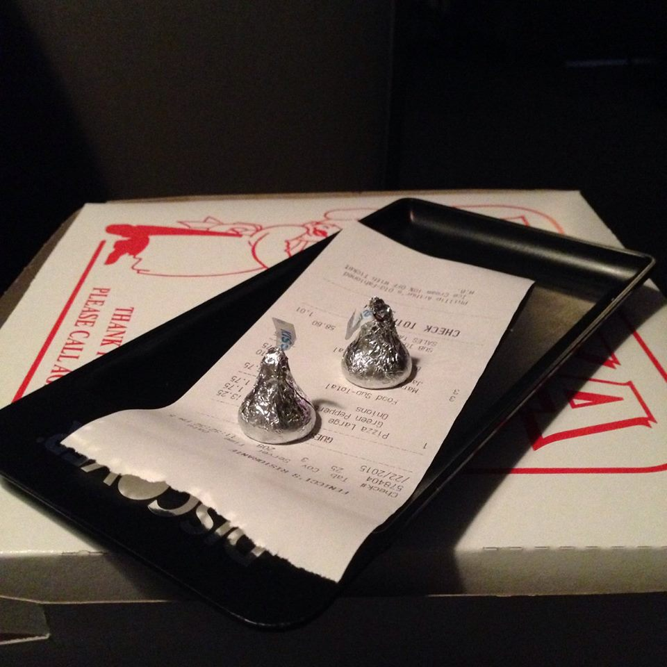 Hershey Kisses sitting on top of check at Finucci's in Hershey PA