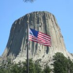 Devil's Tower and American Flag