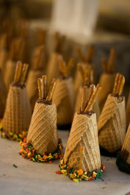 Ice cream cone teepees for Thankgsiving