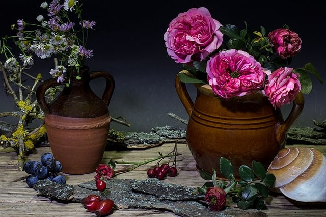 display flowers in clay pots