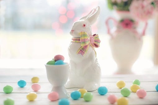 Easter Baskets with candy and bunnies
