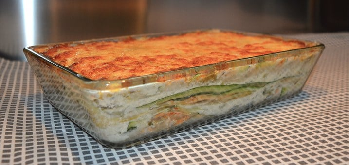 Vegetarian casserole with zucchini as the noodles