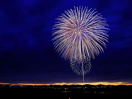 image of a circular fireworks display