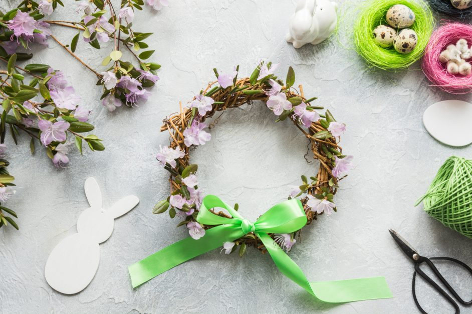 spring wreath with flowers