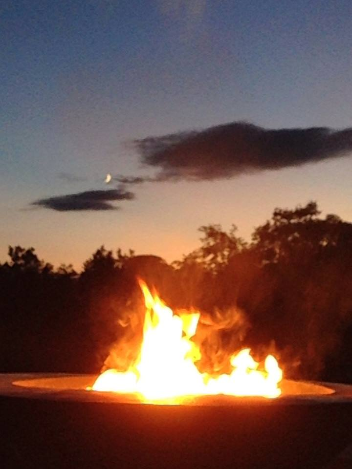 Fire pit at Labelle Winery in their outdoor seating