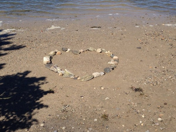 Heart made out of rocks